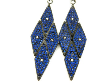 1970 ORIGINAL - Italian fashion - Amazing earrings Maison 6 DONNA signed- fabulous pave of Prussian blue crystals -- art.865/3 --