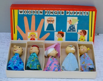Antique Vintage Wooden Finger Puppets . Original Box