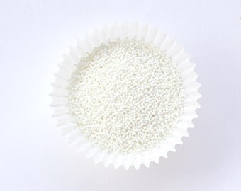 White NonPareils Sprinkles, White Cookie Sprinkles, Winter Sprinkles (2 ounces)