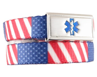 Medical Bracelet Merica  NYlon WEbbing with Stainless Steel ID Tag