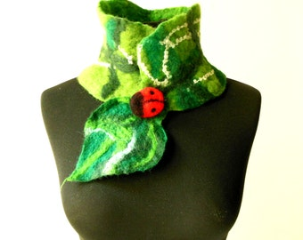 felted green eco friendly collar scarf and a ladybug, wearable art, felt art scarf, eco friendly