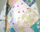Modern Baby Girl Quilt-Horse-Guitar-Bunny Rabbit Crib Bedding-Anna Elise-Art Gallery Fabric-Bohemian Patchwork-Teal n Pink
