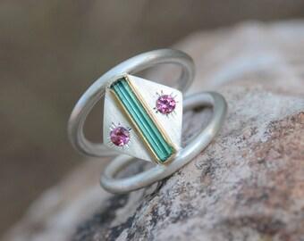 Blue Green Rough Tourmaline Silver Gold Ring Pink Tourmaline Silver 22k Yellow Teal Geometric Native Tribal Mexico - Southwest Bend