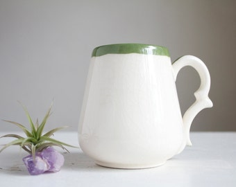 Tiny China Mug, Little Vase, Green and White, Little Something, Under 10, Handmade