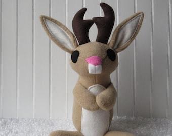 Jackalope Plush, Jackalope, Rabbit Plush, Rabbit with Antlers