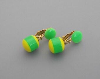 Yellow and Green Dangle Earrings, Green and Yellow Earrings, Oregon Ducks Earrings