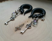 Silver Key Charm Gauged Earrings Plugs with wire wrapped Crystal Drops
