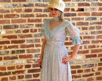 Vintage 1980s Steampunk Victorian JC Penny Fashions Blue Lace Formal Maxi Dress