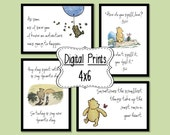Set of 4 Classic Winnie the Pooh Quotes - 4x6, INSTANT DOWNLOAD