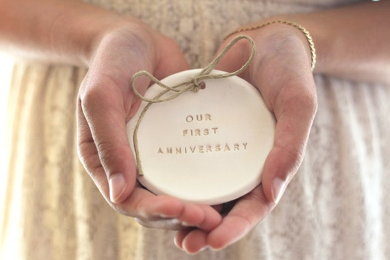 Our first anniversary gift ring dish bearer