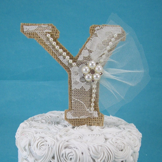 Lace Monogram Cake Topper
