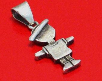 Boy with hat .. lookin like a scarecrow lol :P 925 sterling silver necklace pendant