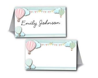 12  Tent Style Place Cards, Name Cards, Buffet Food Cards, Table Signs, Pastel Hot Air Balloons, Bridal, Baby Shower, Birthday, Wedding