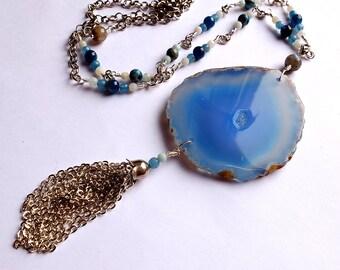 blue agate slice statement necklace, multi gemstone beaded chain, amazonite, apatite, quartz, labradorite, tassel necklace, unique ooak