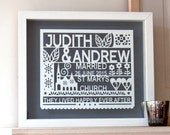 Personalized Wedding Paper cut Gift Art, gift for wedding, gift for married couple, personalized wedding gift, personalised bride and groom