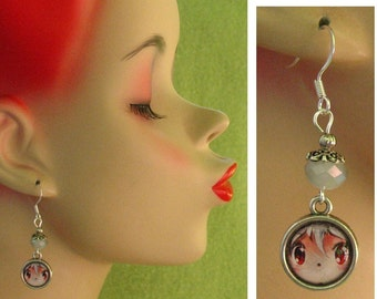 Anime Eyes Charm Drop / Dangle Earrings Handmade Jewelry Fashion Accessories Hook Japanese