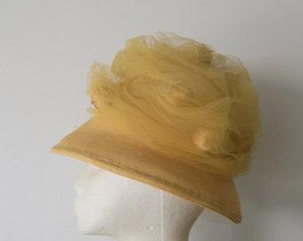Vintage Yellow Derby Hat