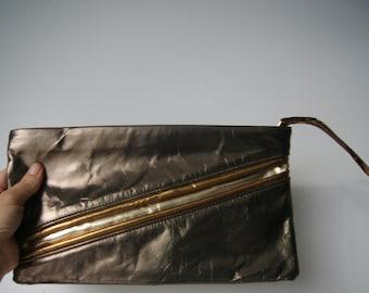 Vintage 1980s Bronze Leather Deadstock Clutch