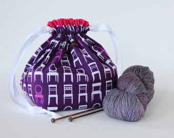 SALE As Is - Drawstring Square-Bottomed Project Bag Knitting Crochet - Purple Chairs with Pink Lining