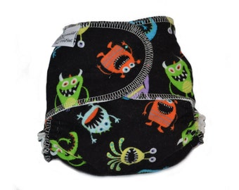 Cloth Diaper Fitted, One Size, Monsters, Flannel - Add Snaps, Hook and Loop, or Pins