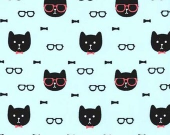 Aqua Dapper Cat Faces Black Sunglasses Michael Miller Fabric Yard