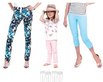 Jalie 3461 Eleonore Stretch Pull On Jeans Long or Cropped Capri Sewing Pattern