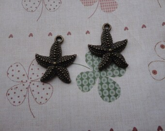 15pcs 20x18mm antiqued bronze tone starfish shape symbol