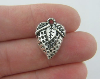 BULK 30 Strawberry charms antique silver tone FD238