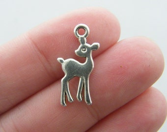 BULK 50 Deer charms  antique silver tone A227