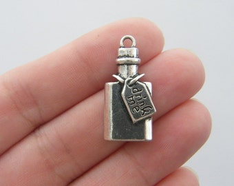 2 Drink me bottle charms antique silver tone FD175