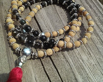 OOAK Handmade Mini Mala Necklace Wood Astrophyllite 4mm Silver Accent Magnetic Closure