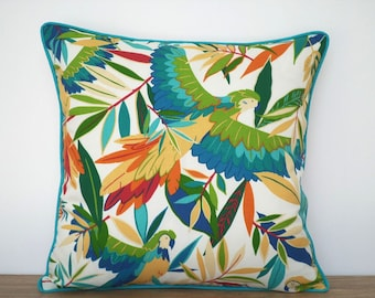 Tropical outdoor pillow case 18x18, teal outdoor cushion cover island decor, parrot pillow case, palm leaf cushion piping