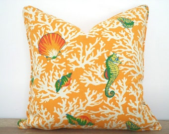Orange outdoor pillow cover nautical decor, coral outdoor cushion case, coastal pillow sea horse print, coral pillow case beach cottage