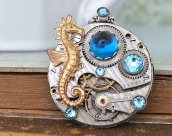 steampunk necklace - UNDER THE SEA - vintage pocket watch movement necklace with seahorse charm and Swarovski rhinestones