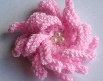 Knitting Pattern Corsage/Flower Brooch Beaded pattern - Easy Knit