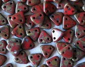 6mm CzechMates Triangle Beads - Red Czech Mates Triangle - Opaque Red Picasso -  Picasso Czech Glass Beads - Two Hole Beads