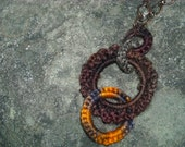Warm Brass Ringed Pendant Necklace