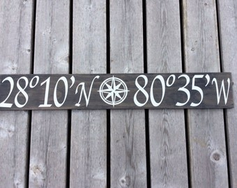 Custom Latitude Longitude Nautical Compass Wood Sign