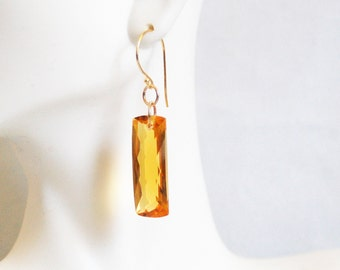 Top Grade 36.5 ct. Orange Citrine Dangle Drop Earrings- Fine Jewelry-Wedding Jewelry- Bridal Jewelry -Bridal Accessories- -Citrine Earrings