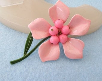 1960s Pink Flower Power Enamel Pin, Excellent Vintage!