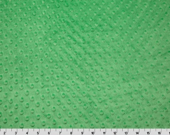 Minky Dot Fabric-Cuddle Dimple in Kelly Green- 1 Yard- By the Yard