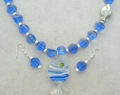 SALE - 50% off, Deep Blue Sea, Blue Blown Glass Fish from Murano, Venice, Italy, 1 Sterling Silver Fish, Necklace Set by SandraDesigns