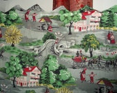 Huge vintage cotton linen fabric pastoral country mid century kitch, drapery curtain panel!!