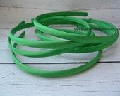 Set of 2 ~ 7mm Emerald Satin Headbands