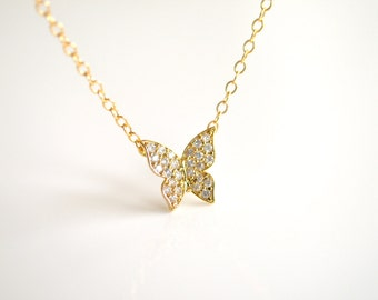 Cubic Zirconia Butterfly Necklace in Gold