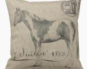Pillow Cover Vintage Equestrian Horse Juillet 1833