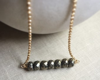 Pyrite Bar Necklace, Fools Gold, Pyrite Rondelle Gemstone Necklace, Gold Filled Chain Necklace, Simple Jewelry