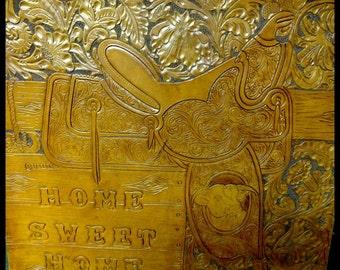 Vintage Leather Wall Art Hand Tooled Original Art Work Western Folkart