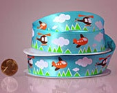 "7/8"" Airplane and Helicopter Clouds Ribbon"