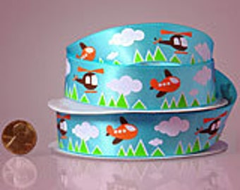"""7/8"""" Airplane and Helicopter Clouds Ribbon"""
